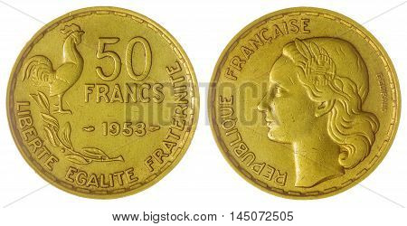 50 Francs 1953 Coin Isolated On White Background, France