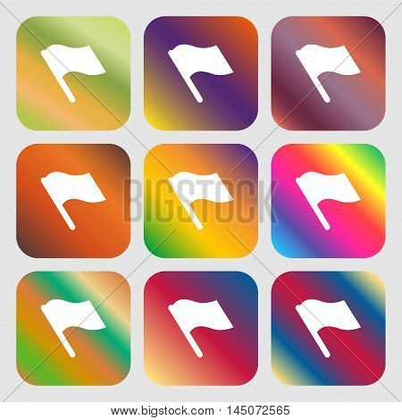 Finish, Start Flag Icon. Nine Buttons With Bright Gradients For Beautiful Design. Vector