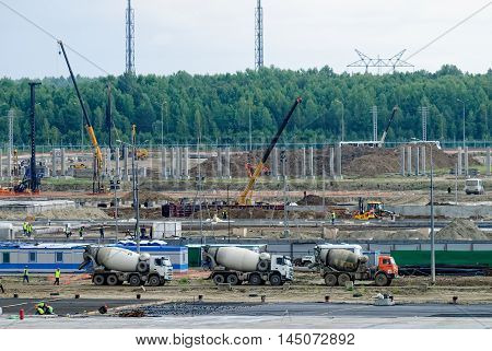 Tobolsk, Russia - July 15. 2016: Sibur company. Construction of plant on processing of hydrocarbonic raw materials