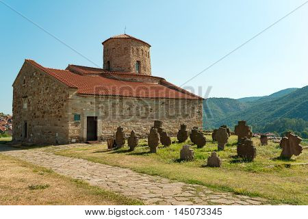 Ancient gravestones and IX century church of the Holy Apostles Peter and Paul in Ras, Serbia