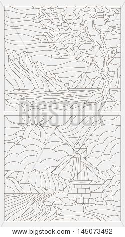 Set contour illustrations of stained glass the tree against the sky rivers and mountains a mill in the background and river and sky