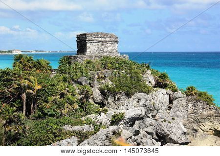 Lighthouse Mayan Ruins In Coba, Yucatan Peninsula, Mexico.