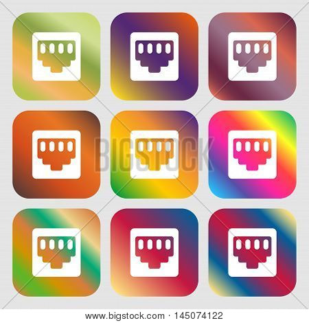 Cable Rj45, Patch Cord Icon. Nine Buttons With Bright Gradients For Beautiful Design. Vector