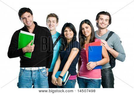 Glücklich, junger Teenager Studenten stehen und Lächeln mit Büchern und Taschen isoliert auf weiß ba