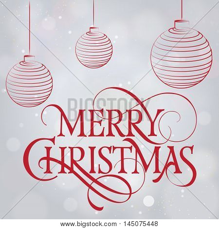 Merry Christmas lettering. Red Merry Christmas inscription with Christmas balls on abstract background. Calligraphy can be used for postcard, invitation card, festive design, poster, banner