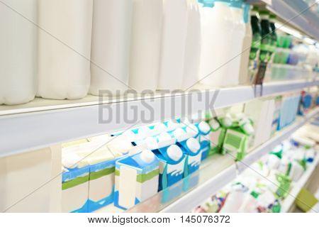 Diary produce on supermarket shelves