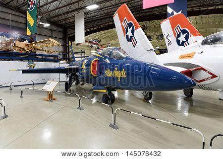 Kalamazoo, MI, USA - June 23, 2016: Blue angel Grumman F-11 Tiger on display at the Air Zoo Museum in Kalamazoo, Michigan
