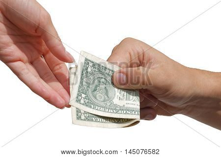 Paying - hand giving american dollar banknotes to another hand