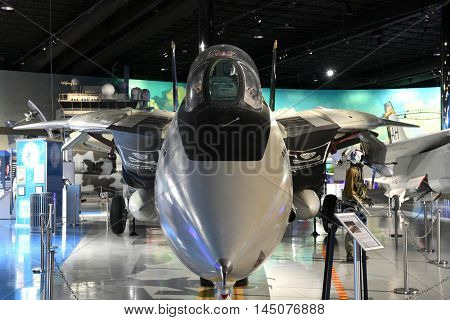 Kalamazoo, MI, USA - June 23, 2016: Grumman F-14A on display at the Air Zoo Museum in Kalamazoo, Michigan