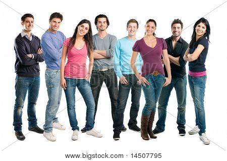 Glücklich lächelnd Latin-Gruppe von Freunden, die beieinander stehen in einer Zeile, isolated on white background
