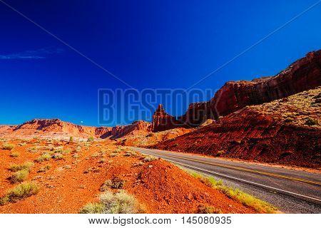 Road Near Chimney Rock, Capital Reef National Park, Utah, Usa