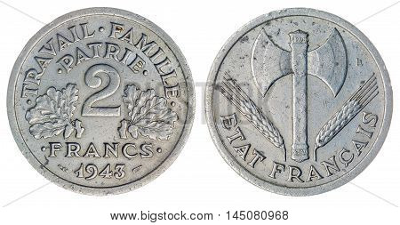 2 Francs 1943 Coin Isolated On White Background, France