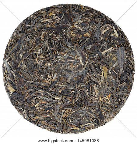Myanmar raw puerh tea crop overhead view isolated