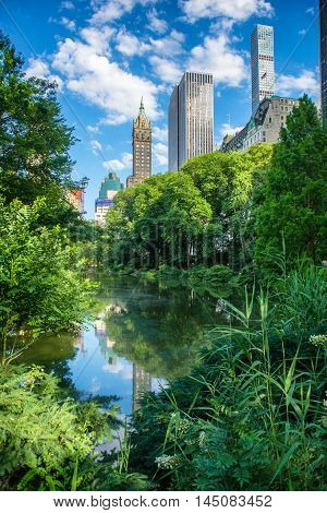 Pond in New York City Central Park at summer against skyscrapers and blue sky. City attraction and place of tourist interests.