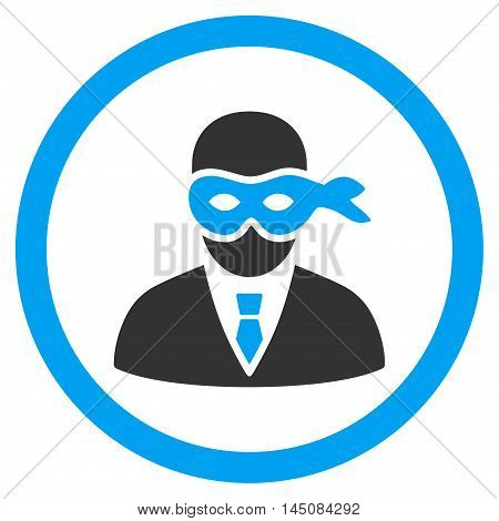 Masked Thief rounded icon. Vector illustration style is flat iconic bicolor symbol, blue and gray colors, white background.
