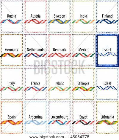 Set of frames with the colors of flags of the following countries: Russia Germany Italy Spain Austria Netherlands France Argentina Sweden Denmark Ireland Luxembourg India Mexico Ethiopia Egypt Finland Israel Lithuania