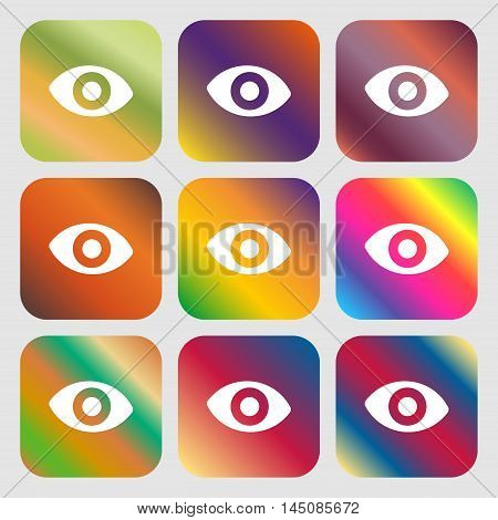 Sixth Sense, The Eye Icon. Nine Buttons With Bright Gradients For Beautiful Design. Vector