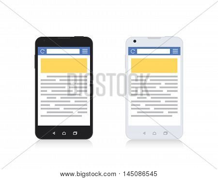 Mobile Phone Internet Browser Vertical Template