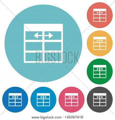 Flat Spreadsheet adjust table column width icon set on round color background.