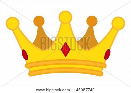 Golden crown cartoon icon. Vector jewelry for monarch.