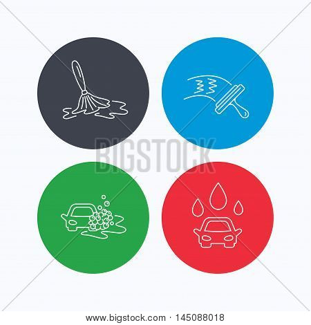 Car wash icons. Automatic cleaning station linear signs. Washing windows, wet cleaning and foam bucket flat line icons. Linear icons on colored buttons. Flat web symbols. Vector