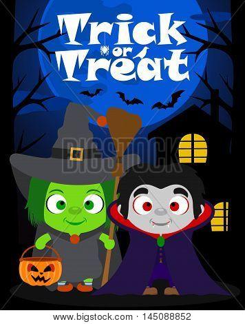 Halloween background trick or treating with children in Halloween costume vector