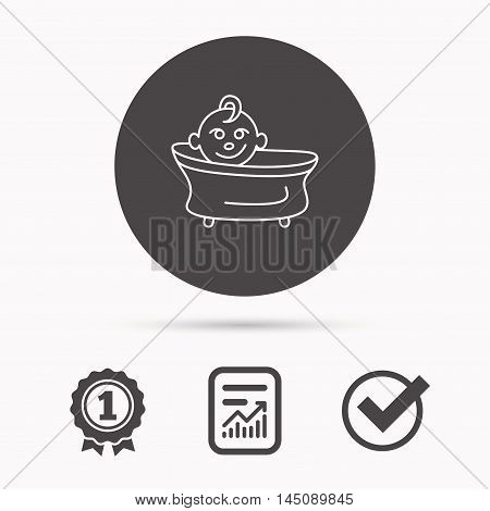 Baby in bath icon. Toddler bathing sign. Newborn washing symbol. Report document, winner award and tick. Round circle button with icon. Vector