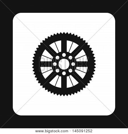 Sprocket for bicycle icon in simple style isolated on white background. Mechanical parts symbol