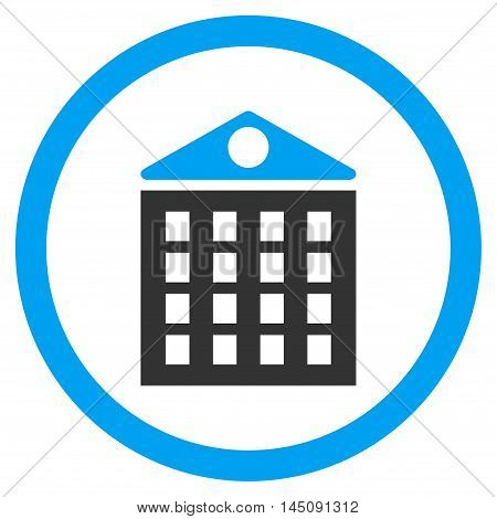 Multi-Storey House rounded icon. Glyph illustration style is flat iconic bicolor symbol, blue and gray colors, white background.