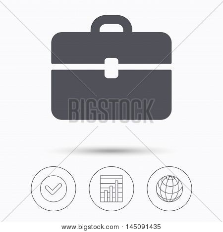 Briefcase icon. Diplomat handbag symbol. Business case sign. Check tick, graph chart and internet globe. Linear icons on white background. Vector