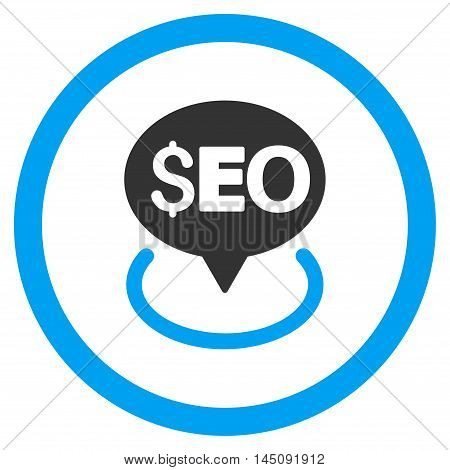 Seo Geotargeting rounded icon. Glyph illustration style is flat iconic bicolor symbol, blue and gray colors, white background. poster
