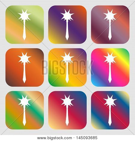 Mace Icon. Nine Buttons With Bright Gradients For Beautiful Design. Vector