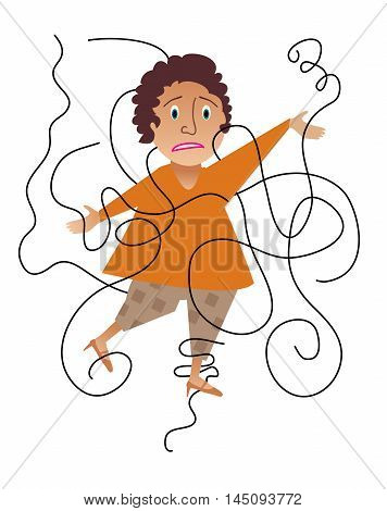 A frustrated woman who is tangled up
