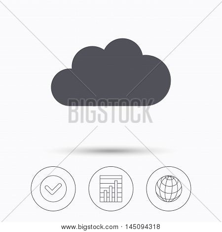Cloud icon. Data storage technology symbol. Check tick, graph chart and internet globe. Linear icons on white background. Vector