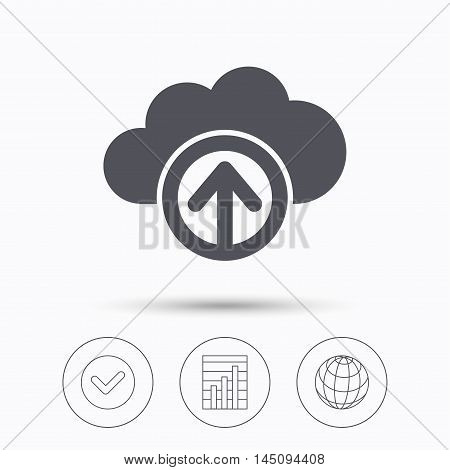 Upload from cloud icon. Data storage technology symbol. Check tick, graph chart and internet globe. Linear icons on white background. Vector