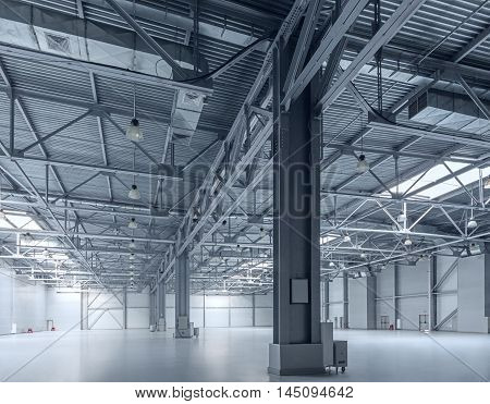 The interior of a modern empty warehouse