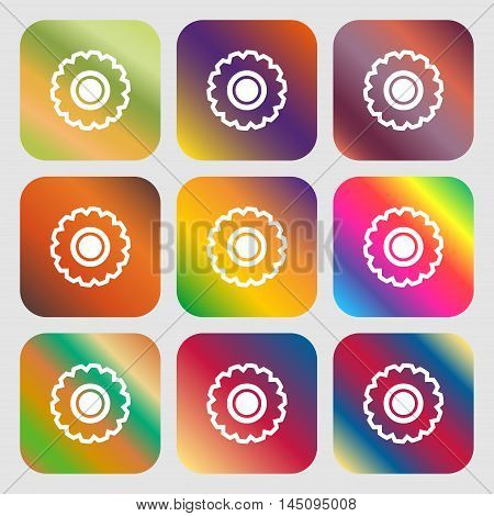 Cogwheel Icon. Nine Buttons With Bright Gradients For Beautiful Design. Vector