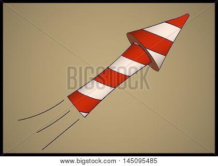 Single white striped flying firework or petard