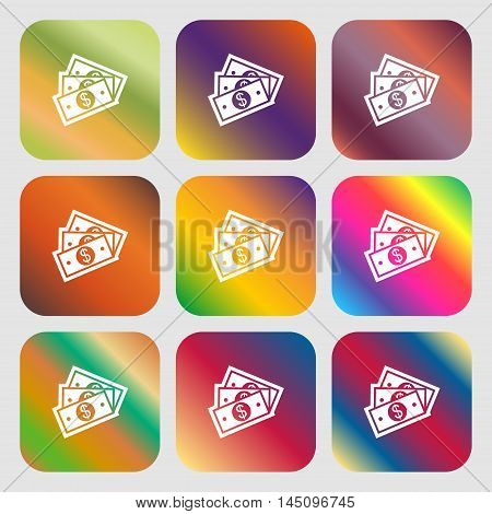 U.s Dollar Icon. Nine Buttons With Bright Gradients For Beautiful Design. Vector