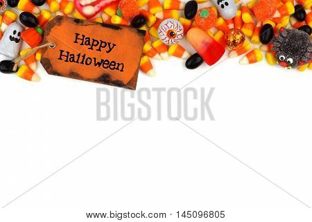 Happy Halloween Tag With Candy Top Border Over A White Background