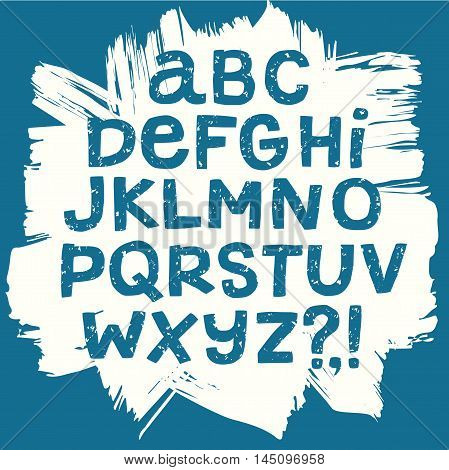 Hand drawn textured vector ABC letters on painted background. Marker style grungy alphabet for your design.