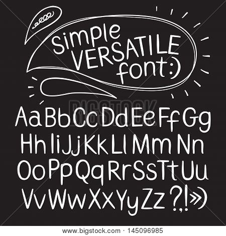 Hand drawn vector ABC letters on blackboard background. Versatile doodle typeset for your design.
