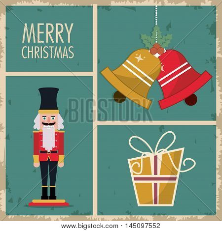 nutcracker gift bell cartoon. vintage merry christmas decoration celebration icon. Colorful and grunge design. Vector illustration