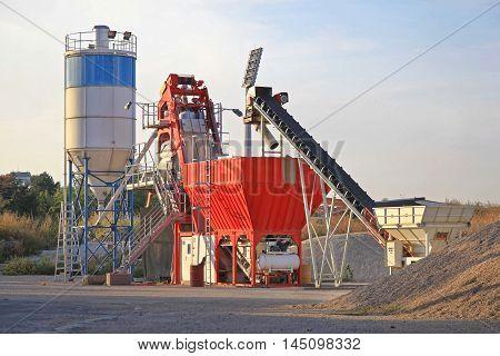 Concrete Batch Plant Equipment at Construction Site