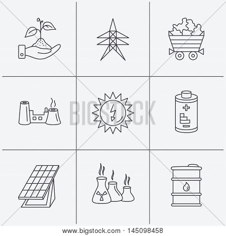 Solar collector energy, battery and oil barrel icons. Minerals, electricity station and factory linear signs. Industries, save nature icons. Linear icons on white background. Vector