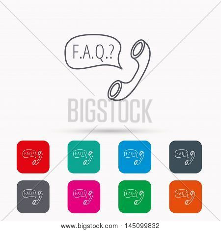 FAQ service icon. Support speech bubble sign. Phone symbol. Linear icons in squares on white background. Flat web symbols. Vector