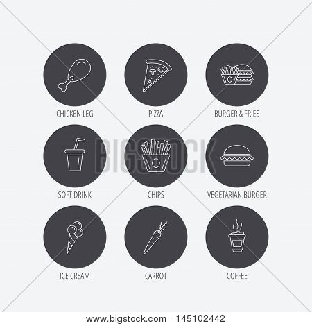 Vegetarian burger, pizza and soft drink icons. Coffee, ice cream and chips fries linear signs. Chicken leg, carrot icons. Linear icons in circle buttons. Flat web symbols. Vector