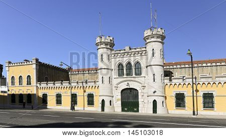 LISBON, PORTUGAL - October 15, 2015: Entrance to the Lisbon Main Prison completed in 1875 and located in central Lisbon, on October 15, 2015 in Lisbon, Portugal
