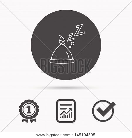 Baby hat with nodule icon. Newborn cap sign. Toddler sleeping clothes symbol. Report document, winner award and tick. Round circle button with icon. Vector