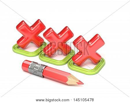 Three red incorrect check mark in green square. 3D render illustration isolated on white background